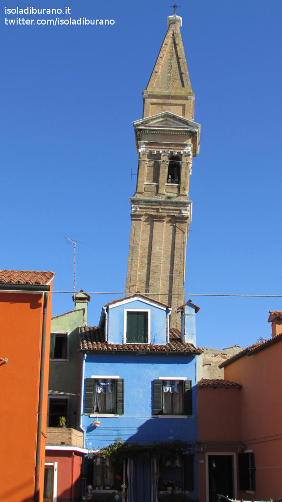 The Leaning Bell Tower Of Burano Venice Italy