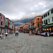 Restaurants in the square of Burano