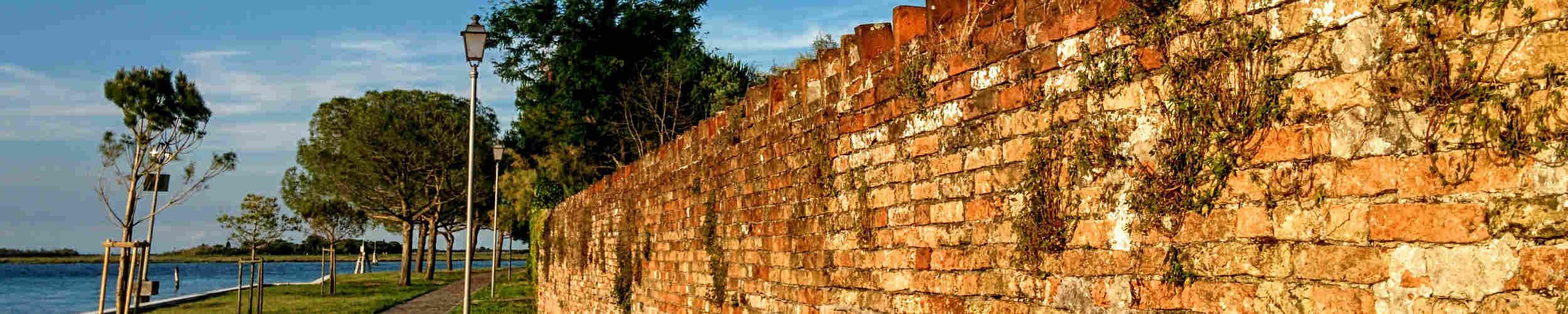 ancient wall of the tenuta venissa in mazzorbo