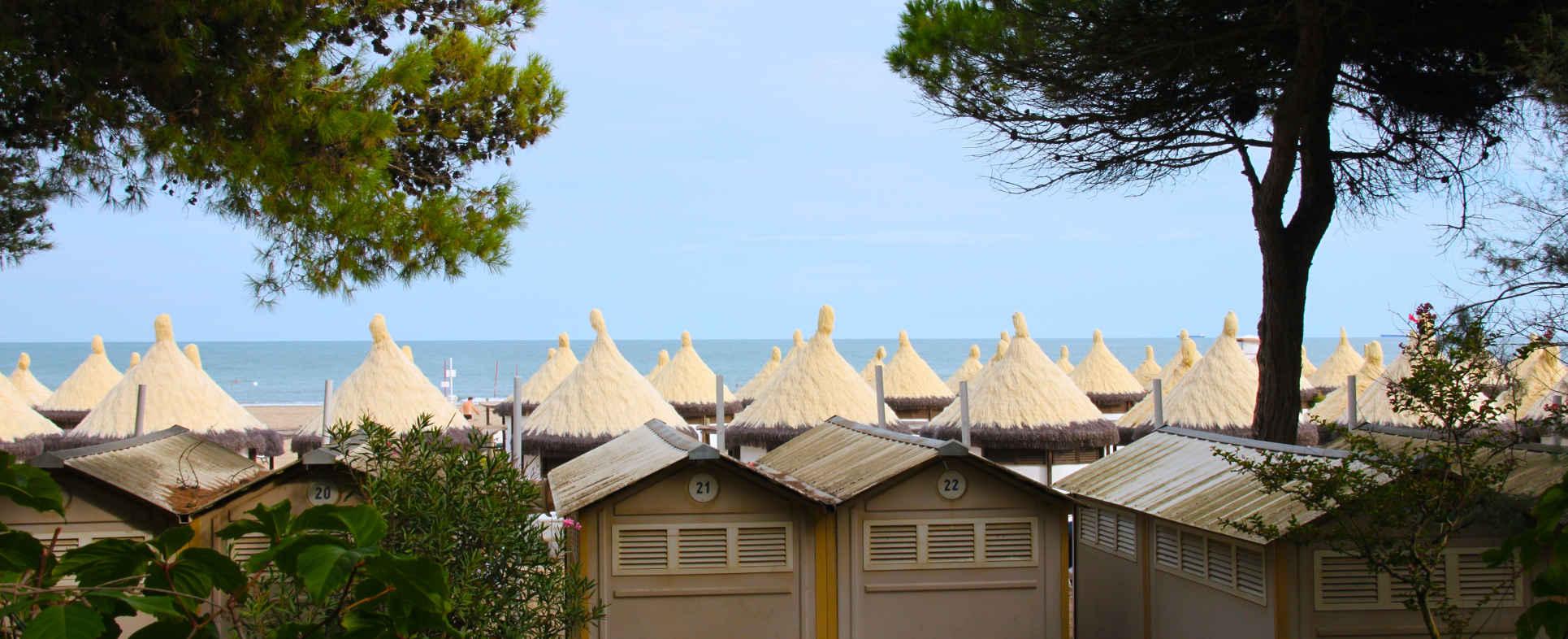 capanne in spiaggia al lido di venezia