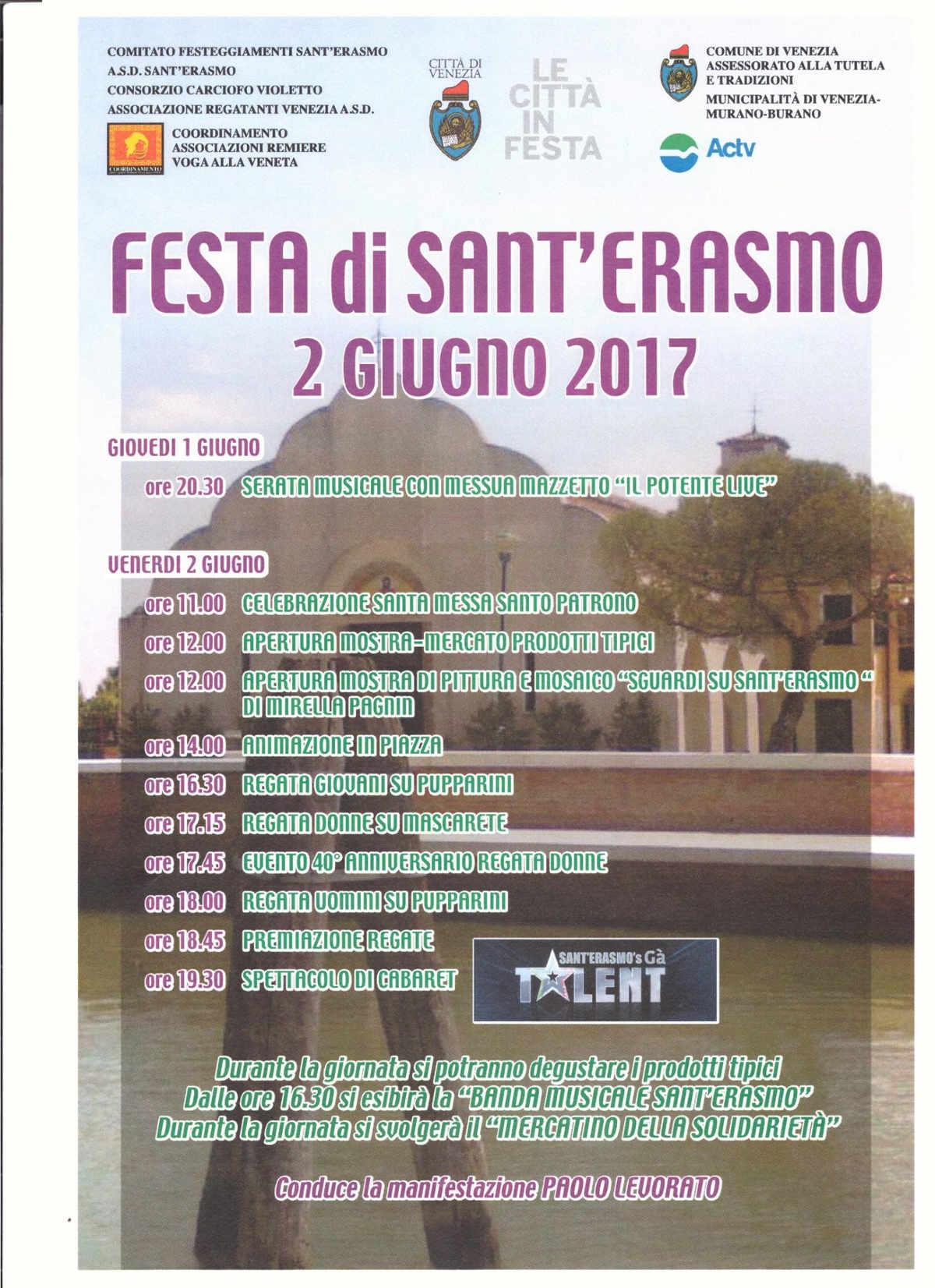 Schedule of the Sant'Erasmo's festival near Venice