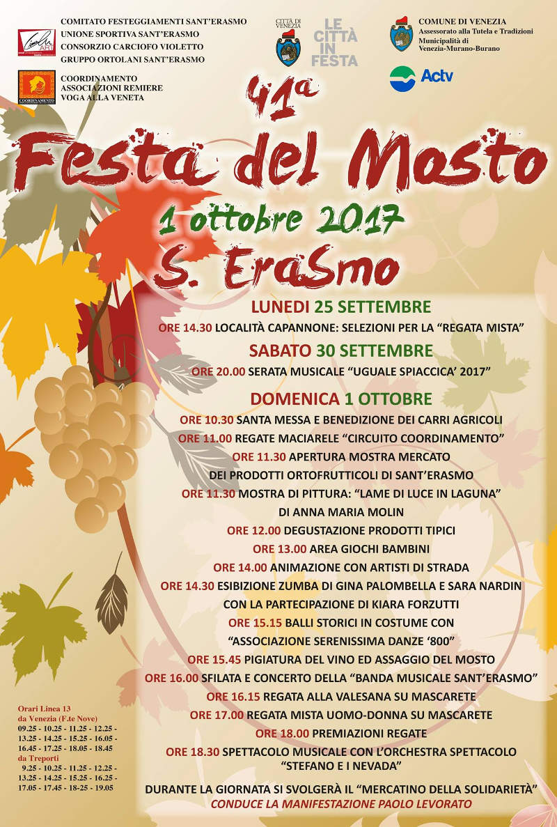 Schedule of the Must Festival in Sant'Erasmo 2021