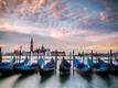 Gondolas in Venice in front of San Giorgio island
