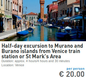 excursion to murano and burano from venice train station